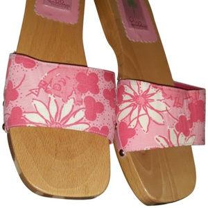 Lilly Pulitzer Pig Sandals 9 dress shoes bag pink